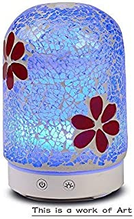 AA Burgundy Flowers Aroma Essential Oil Diffuser Aromatherapy Humidifier 120ml Crackle Mosaic Glass Housing 14-Color LED Light Mute Automatic Light Changing Aromatherapy Machine humidifier