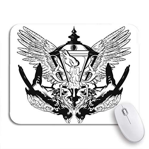 Gaming Mouse Pad Falcon und Laterne schmelzen Kerzenflügel Surreal Tattoo rutschfeste Gummi Backing Computer Mousepad für Notebooks Maus Matten
