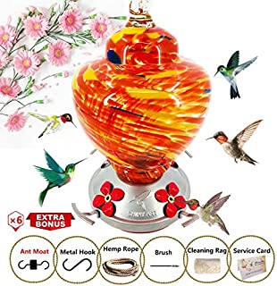 ShinyArt Hummingbird Feeder - Hand Blown Glass - Red - 38 Fluid Ounces Nectar Capacity Include Ant Moat, Metal Hook, Hemp Rope, Brush, Cleaning Rag and Service Card