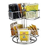 Mind Reader Tea Bag Carousel, Wire Holder, Rotating Organizer, Lazy Susan, Holds up to 60, Silver