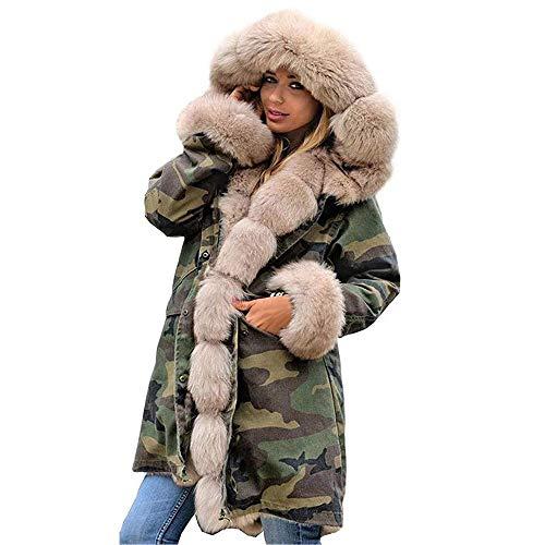YWLINK Damen Tarnung Kunstpelz Mit Kapuze Oberbekleidung Verdicken Parka Winterjacke Kapuzenmantel Faux Fur Warme Outwear