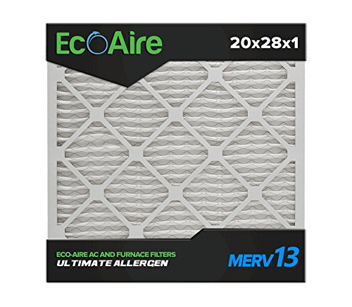 Eco-Aire 20x28x1 MERV 13, Pleated Air Filter, 20x28x1, Box of 6, Made in The USA
