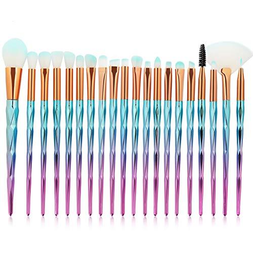 KDBHM Pinceau de Maquillage 10 / 20Pcs pinceaux de Maquillage mis en Queue de Poisson Fard à paupières Contour Foundation Concealer Blush Poudre Make Up Brush Outils,20pcs Bleu Rose