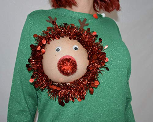 Ugly Christmas Sweater, Reindeer Boob, Women's LARGE, ugly sweater, Christmas, reindeer, breast, sexy, pasties