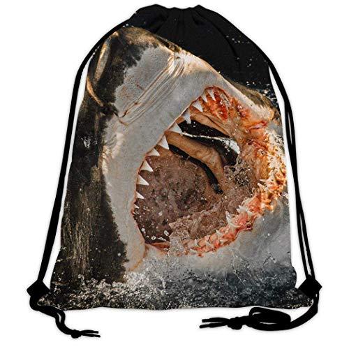 LemonSisterShop Unisex 3D Mehrzweck Sharp Shark Zähne Beam Mouth Rucksack Sackpack Freizeitreisen Fitn Schwimmen Canvas Bag Schultasche Gym Taillentasche