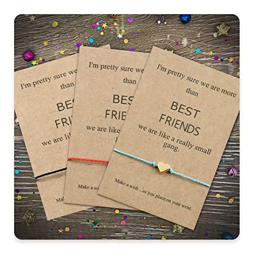 Tarsus Best Friend BFF Bestfriend 3 Friendship Heart Charm Bracelet Set for Women Sibling Girls, Gold