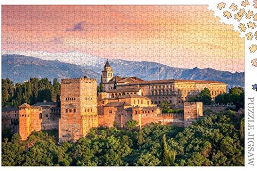 Rompecabezas Rompecabezas De 1000 Piezas La Antigua Fortaleza Árabe De La Alhambra En La Hermosa Velada Granada España Hito De Viajes Europeos para Niños Adultos Mayores De 14 Años