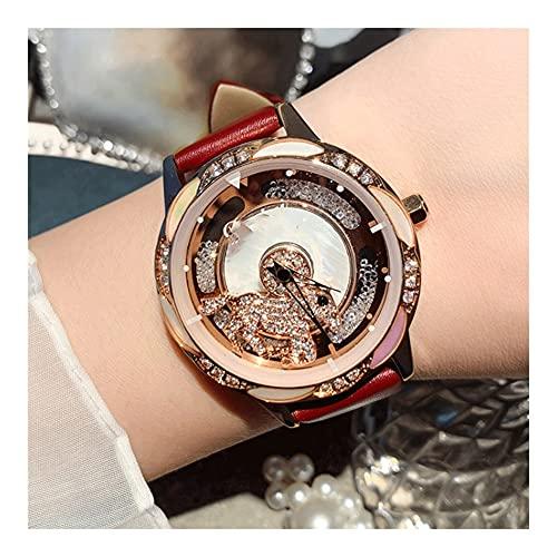 Relojes De Pulsera para Mujeres Lucky Movimiento De Cuarzo Correa De Cuero Espejo De Vidrio Templado Mineral Esfera Giratoria Esfera De Aleación Reloj De Mujer (Color : Pink)