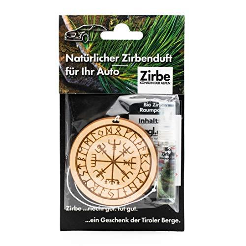 sagl.tirol Natürlicher Autoanhänger aus Zirben Holz inkl. 5ml Zirben Raumparfum Schutzrune