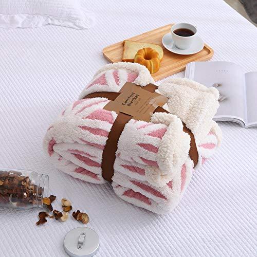 LZLXX Mantas de Franela a Rayas, para Camas Cojín de Lana de Coral sólido Ropa de Cama de Invierno Funda de sofá de Lino Colcha Mantas Suaves y esponjosas@El 160 * 200cm_Rosa