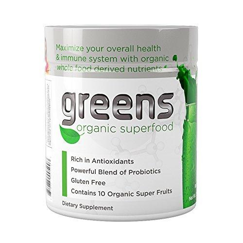 Organic Super Greens | USDA Organic Green Superfood Natural Powder Drink | Berry Flavor with Spirulina, Chlorella, Barley Grass | Vegan + Gluten Free | Made in The USA