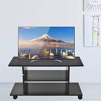 EBTOOLS Mueble TV Madera 32 Pulgadas con Ruedas, Soporte TV Suelo Giratorio Mueble para Televisión Nordico Soporte TV Móvil Negro para Salón Sala de Estar y Dormitorio, 80 x 40 x 40cm: