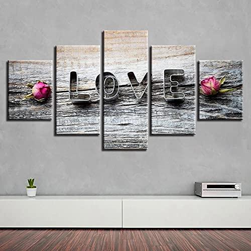 HGFDS Cuadro sobre Lienzo Moderna Pintura sobre Lienzo Sala Estar Dormitorio Anillo de Boda romántico Flor Color de Rosa Decoración Mural Artes Pared Regalo Carteles con Marco 5 Piezas150x80cm