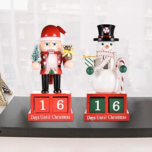 RecoverLOVE Cascanueces 16 cm con Calendario de Adviento de Navidad | Cascanueces 100 de Madera para decoración 2 Piezas colección de muñecas Marionetas Cascanueces