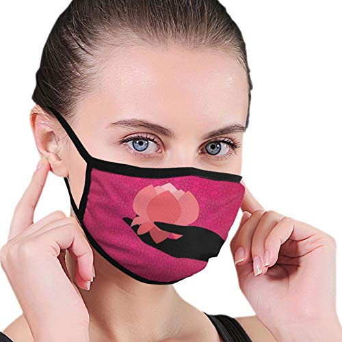 Silhouette Of Woman Hand With Bangles Holding A Japanese Flower Asian Folklore Design,Adult Dust Mask Fashion Face Mask Sunscreen Windproof Bandana Men's and Ladies Headwear