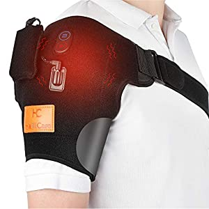 Wireless Massaging Heating Shoulder Therapy Wrap Vibration Heated Shoulder Wrap for Muscle Pain Relief Frozen Shoulder Powered by Portable Charger