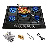 27 inch Gas Cooktop, Drop-in Cooktops, 5 Burners Gas Stove Gas Hob Stovetop, Black Stainless Steel Cooktop, Dual Fuel Sealed Gas Cooker, Heavy Cast Iron Grates Gas Stove Top with Gas Regulator