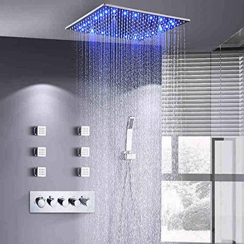 Juego de grifo de ducha de baño estilo masaje termostático oculto cuadrado cromado latón LED lluvia,EB66S5RN