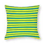 Fundas de almohada gruesas y delgadas de algodón con diseño de rayas turquesas y amarillas con cierre de cremallera oculta...