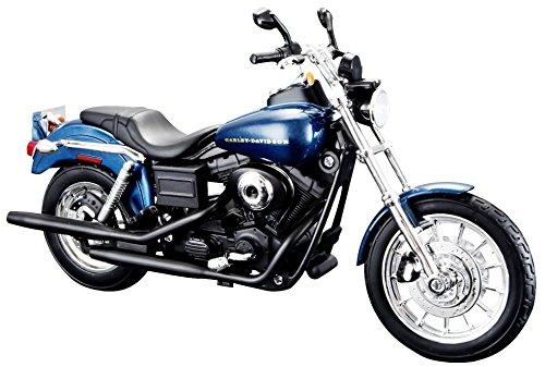Maisto Harley-Davidson Dyna Super Glide Sport ´03: Motorradmodell 1:12, mit Lenkung, beweglichem Ständer und frei rollenden Rädern, 17 cm, blau (532321)