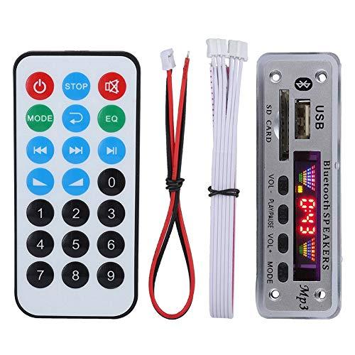 Tosuny Módulo de Radio FM Bluetooth MP3 WMA para Autos con Pantalla de 4 Colores con Control Remoto, Soporte AUX/FM/USB/SD, Llamada de Manos Libres(Plateado)