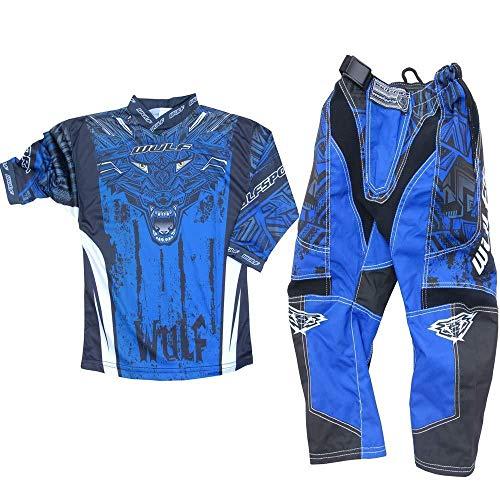 Motorradanz?ge WULFSPORT FORTE 2020 Kinder Motorradkombi Motocross-Rennkleidung Hose Jersey Anzug f?r MX Gokart Quad Scooter Sportkleidung, Zweiteilige Kombinationen (Blau,11 bis 13 Jahre)