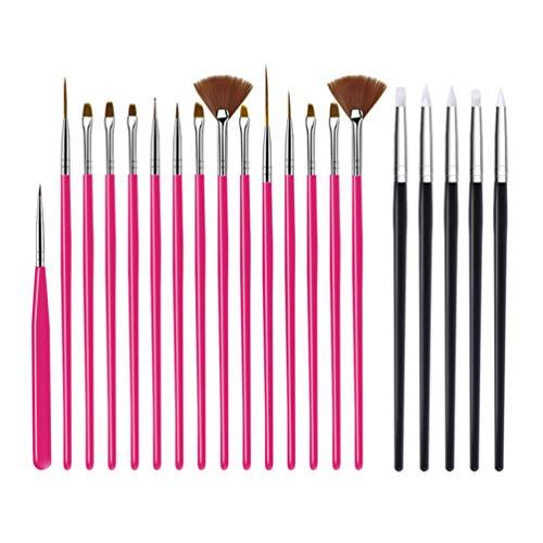 Mobestech 20St Nail Art Brushes Set Professionele Manicure Tools Nagel Pen Voor Nagel Puntjes Details Schilderen Mengen Langwerpige Lijnen