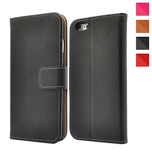 Apple iPhone Genuine Leather Case, Premium Leather Wallet Case with [Kickstand] [Card Slots] [Magnetic Closure] Flip Notebook Cover Case for (iPhone 5/5s/Se Black)