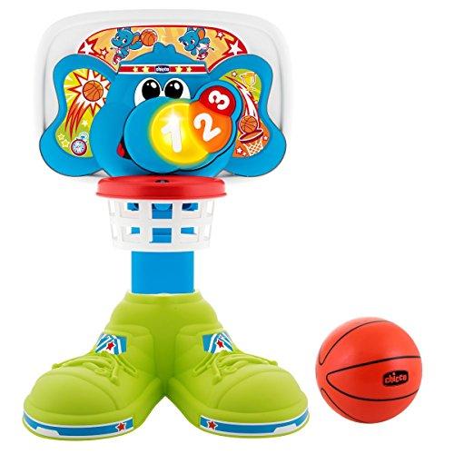 Chicco Bascket 123 - Divertida canasta de baloncesto infantil con diferentes formas de juego, luces y melodías - incluye pelota