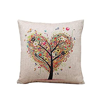 FAPIZI ❁ Pillow Case ❁ Heart-shaped tree Square Throw Flax Pillow Cover