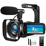 Caméscope Caméra Vidéo Full HD 1080P 30FPS Caméra de Vlog pour Youtube Vision Nocturne IR 24MP Caméscope Numérique avec Microphone et Stabilisateur Portable