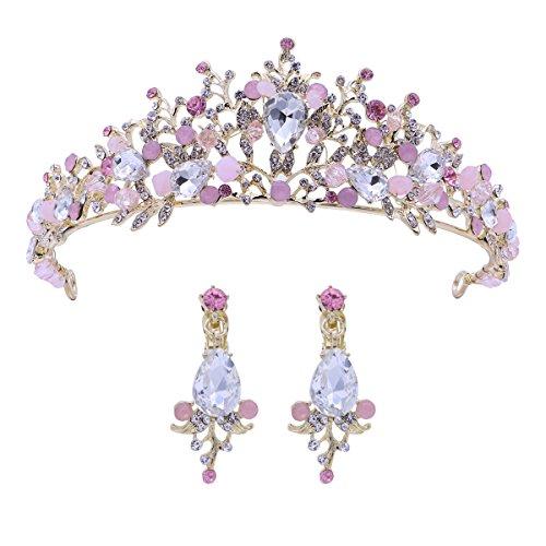 Frcolor Tiara de la boda y corona flor de diamantes de imitación Princesa de la novia corona con pendientes