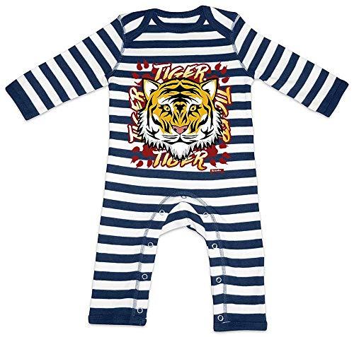 Hariz - Pelele para bebé, diseño de tigre, con texto en alemán azul Azul marino/blanco lavado. Talla:12-18 meses