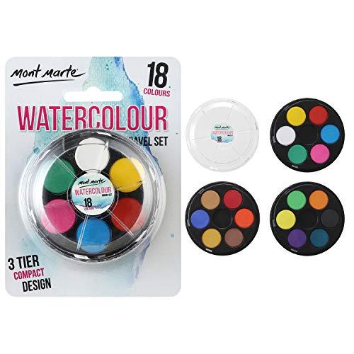 Mont Marte Aquarelverf Set – 18 Kleuren – Compacte set met 3 Niveaus – Hoge Pigmentatie – Ideaal voor aquarel – Perfect…