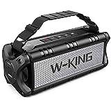 W-KING 50W(70W Peak) Enceinte Bluetooth Portable & Batterie de Recharge 8000 mAh, Autonomie 24 hrs,Haut-Parleur IPX6 Extérieur Étanche TWS Subwoofer avec NFC, Son Stéréo et Basses Puissantes Carte TF