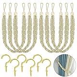 Hysagtek 6 alzapaños de cuerda para cortina, trenzado, con 12 ganchos de metal para cortinas de ventana, color beige