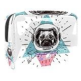 Bolsa de Maquillaje Astronauta Space Dog Pug Neceseres para Maquillaje Bolsa para cosméticos portátil y Muy espaciosa para Mujeres y niñas 18.5x7.5x13cm