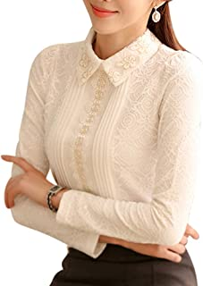SansoiSan Women' s White Lace Peter Pan Collar Blouse(XS-XXXL)
