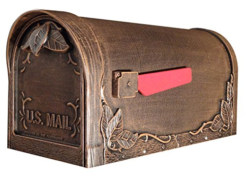 Special Lite Products SCF-1003-CP Floral Curbside Mailbox, Copper