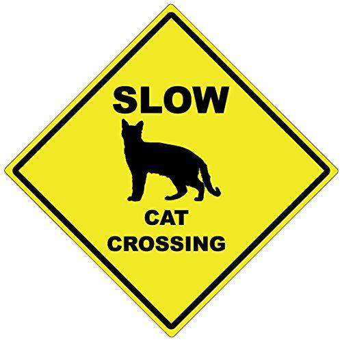 Dark Spark Decals Slow Cat Crossing–38,1cm Diamant Aluminium Achtung Schild