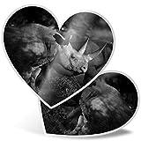 Impresionante pegatinas de corazón de 7,5 cm – Rhinosaurus Rinosaurus Rhino Wild Animal divertido calcomanías para portátiles, tabletas, equipaje, libros de chatarra, frigorífico, regalo genial #24514