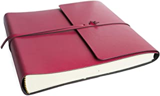 LEATHERKIND Pachino Recycled Leather Photo Album Raspberry, Medium Classic Style Pages - Handmade in Italy