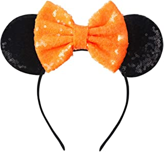 Mouse Ears Bow Headbands, Glitter Party Hot Pink Princess...
