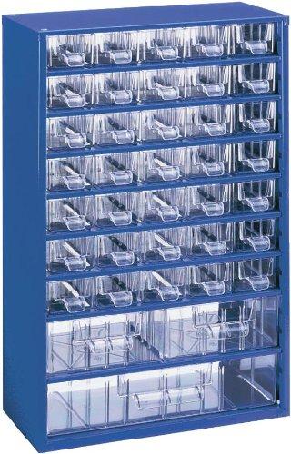 Kleinteilemagazin METALL BLAU 35+2+1 Schubladen + 20 Trennstege, Profiqualität, 460 x 306 x 155 mm