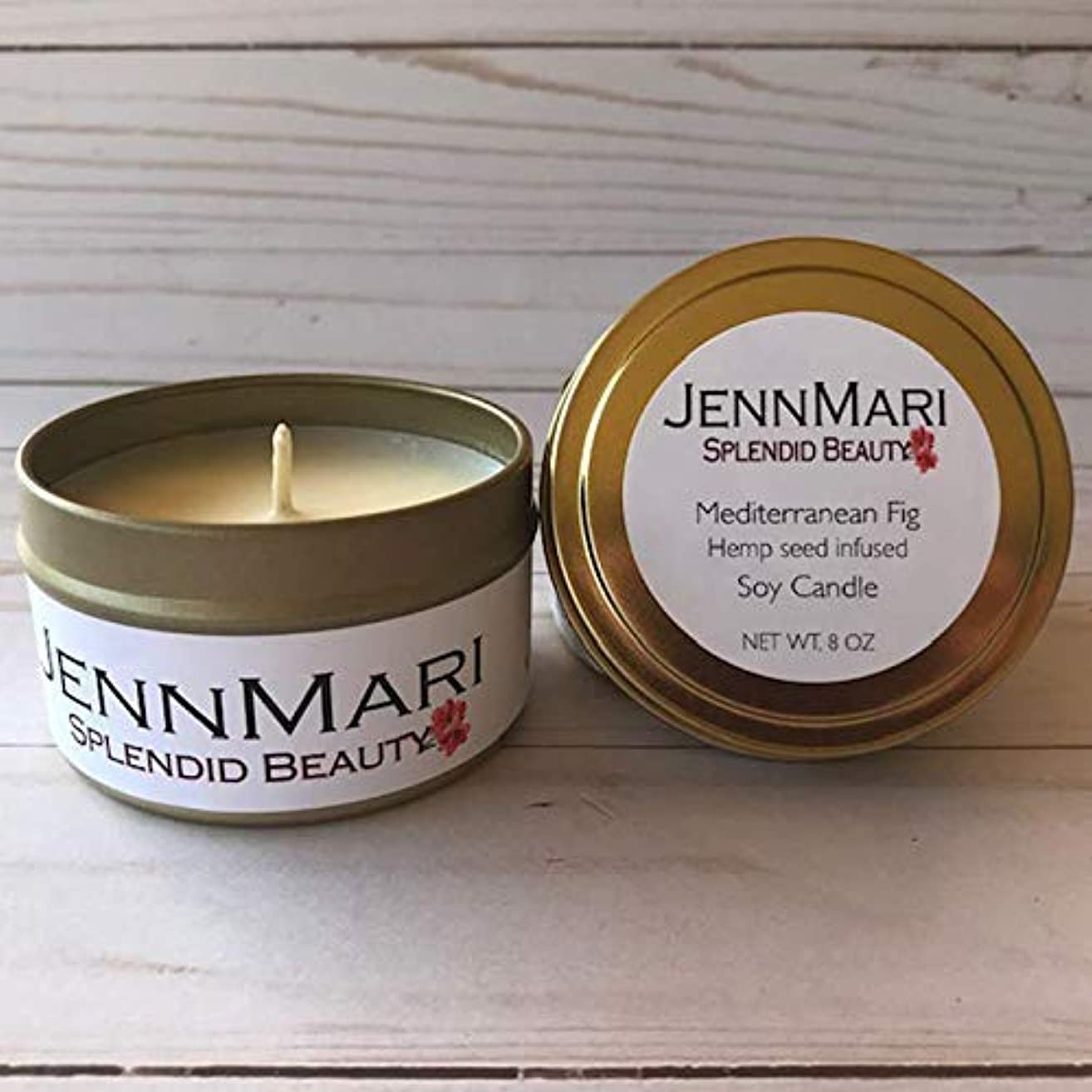 Splendid Beauty   Mediterranean Fig Hemp Soy Candle 6 Oz Tin   Handmade   Eco-friendly   Vegan   Cotton Wick   100% Soy Wax