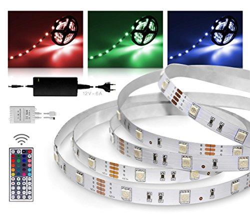 Preisvergleich Produktbild LED Streifen 10m RGB Set mit Steckernetzteil und Infrarot-Fernbedienung