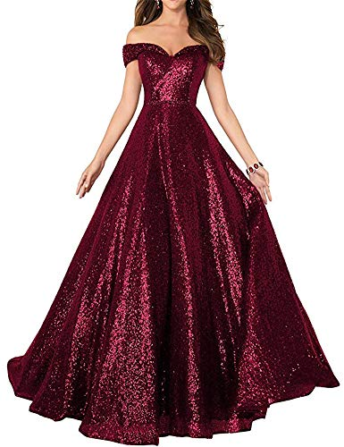 Ai Maria Women's Off Shoulder Prom Dresses Ball Gown Sequined Beaded Evening Party Dress Burgundy