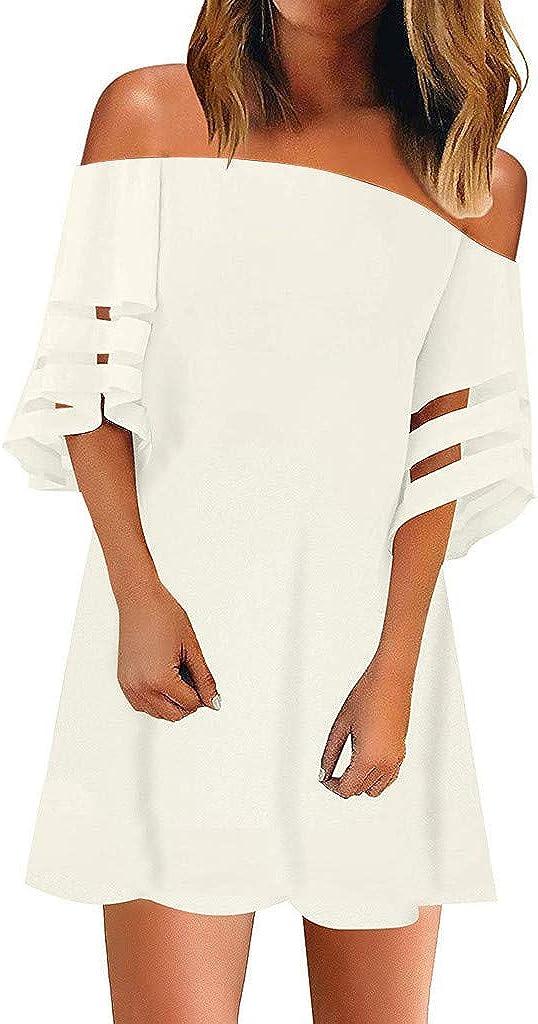 Womens Off Shoulder 3/4 Bell Sleeve Mesh Blouse Loose Top Mini Dress Plain Pleated Swing Beach T Shirt Dresses