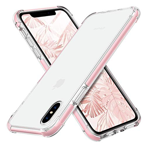 MATEPROX iPhone Xs Case iPhone X Case Clear Hybrid TPU Hard Cover with Thin Shockproof Bumper Protective Case for iPhone Xs/X 5.8'' (Clear Pink)