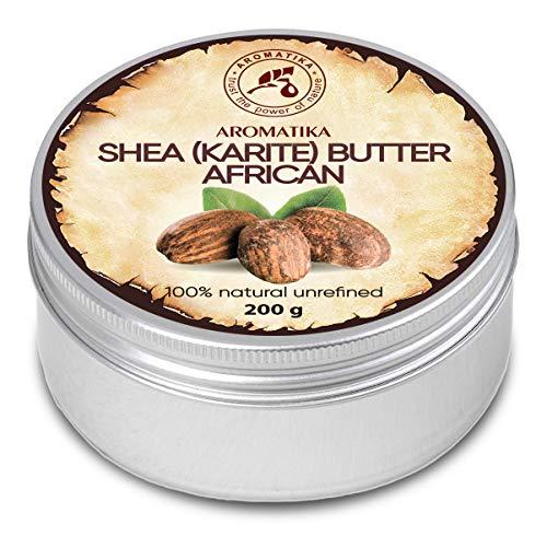 Manteca de Karité - 200g - Shea Butter Africana - Puro y Natural Butyrospermum Parkii - Óleo Corporal - Hidratante Corporal - Aceite para el Cabello - Piel - Uñas - Labios - Cuidado Facial